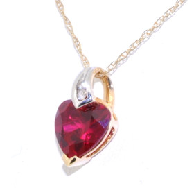 10K Yellow Gold Synthetic Red Gemstone Heart Charm with Diamonds 52001580