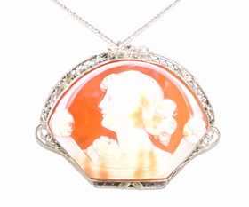 14K White Gold Antique Cameo Pin 52001575