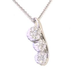 """14K  White Gold 18"""" Flower Slide Diamonds Necklace"""
