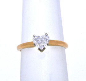 14K Yellow Gold Heart Shape .45CT Diamond Engagement Ring