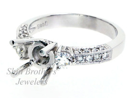 14K White Gold 0.42 ct Diamond Engagement Ring Setting
