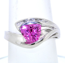 10K White Gold Pink CZ Ring with Diamonds 12002226