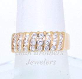14K Yellow Gold CZ Wedding Band 12001631