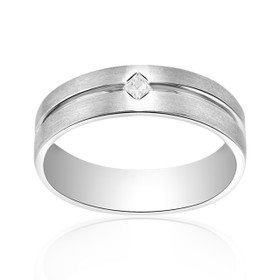 14K White Gold Wedding Band 10016407
