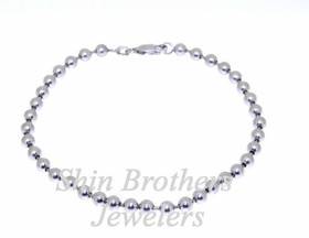 "14K White Gold 9"" Beads Anklet 20000938"