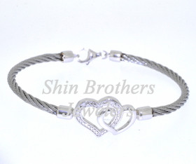"""Silver & Stainless 7"""" CZ Hearts Bangle 82010400"""