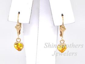 14K Yellow Gold Yellow CZ Heart Lever Back Earrings  42002130