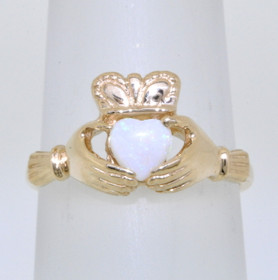 14K Yellow Gold Opal Claddagh Ring 12002252