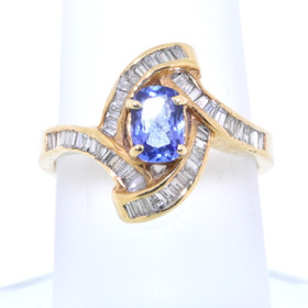14K Yellow Gold Tanzanite and Diamond Ring 12000786