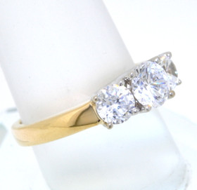 14K Yellow Gold Past Present & Future CZ Ring 12001581