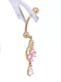 14K Yellow Gold CZ Belly Ring 42002229