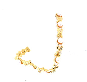 14K Yellow Gold Diamond Pearl Bracelet 22000574