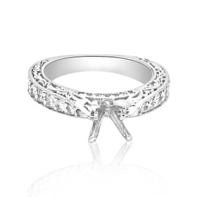 18K White Gold 1.01 CTW Diamond Engagement Ring Setting