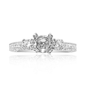 18K White Gold 1.17 CTW Diamond Engagement Ring Setting