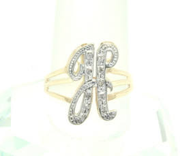 "14K Two Tone Gold Diamond Initial ""H"" Ring 11000694"