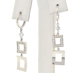 14K White Gold CZ Drop Earrings 42002349