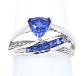 10K White Gold Tanzanite/Diamond Ring 19000008