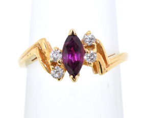 14K Yellow Gold Ruby and Diamond Ring 12000974