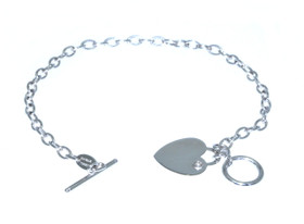 14K White Gold Heart and Key Bracelet 20000830