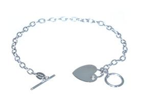 14K White Gold Heart and Key Bracelet 20000830