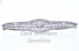 14K White Gold Antique Diamond Pin 51001641