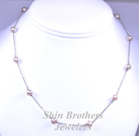 "14K White Gold 16"" Fresh Water Pink Pearl Necklace 32000386"