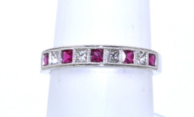 18K White Gold Ruby/Diamond Ring 12000319