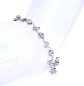 """14K White Gold 7"""" 0.30ctw Flower Link Bracelet 21000456"""