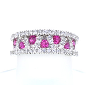 14K White Gold 0.55ctw Diamond/Ruby Band 12002290