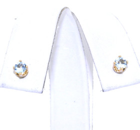 14K Yellow Gold Aquamarine Stud Earrings 42002163