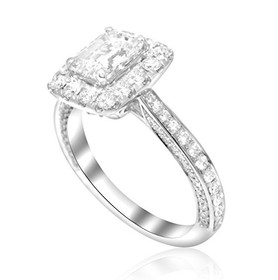 18K White Gold GIA Certified 1.00ctw Diamond Engagement Ring
