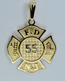 14K Yellow Gold FDNJ Fire Dpeartment of New Jersey Badge Charm 50000157