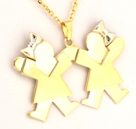 14k Gold Kid's Charm Two Girls Holding Hands 50001034