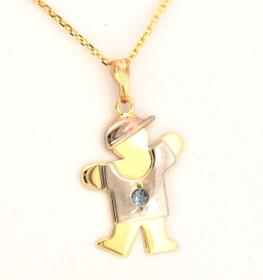 14k Gold Kid's Charm Boy with Aquamarine Stone 50001014
