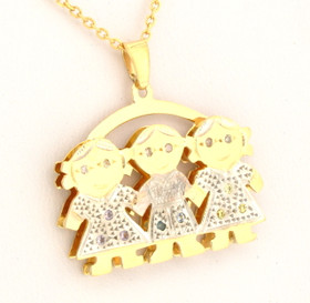 14k Gold Kid's Charm Three Girls 50001362