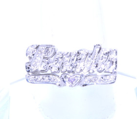 14k White Gold Diamond Lourde Personalized Name Ring 11002173