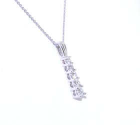 "14K White Gold Straight Journey .25ctw Diamond Pendant with 16"" Box Chain 31000221"