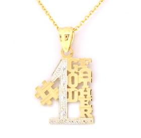 14K Yellow Gold #1 Godfather Charm 50000349