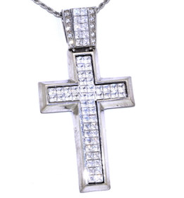 14K White Gold CZ Cross Pendant 52000477