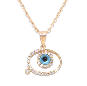14K Yellow Gold Diamond Fancy Evil Eye Charm 52001621