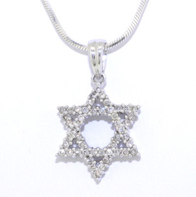 14K White Gold Diamond Star of David Charm 51001660