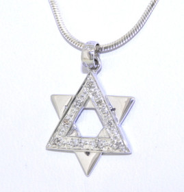 14K White Gold Diamond Star of David Charm 51001656