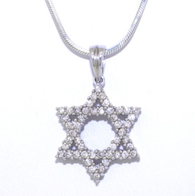 14K White Gold 0.59ctw Diamond Star of David Charm 51001659