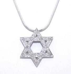 14K White Gold Diamond Star of David Charm 51001658