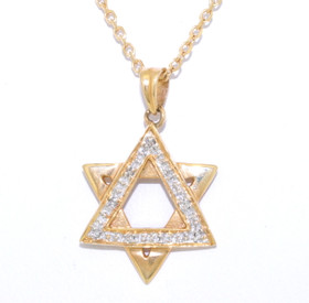 14K Yellow Gold Diamond Star of David Charm 51001657