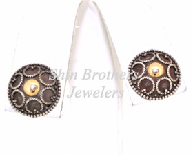 Sterling Silver Antique Finish Stud Earrings 84210077
