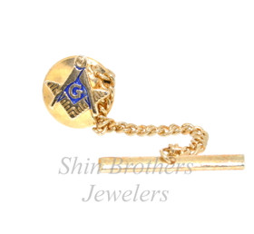 14K Yellow Gold Plated Mason Tie Pin 89910066