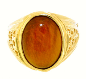 14K Yellow Gold Men's Light Tiger Eye Ring 12000392
