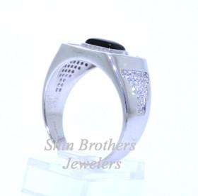 Sterling Silver Men's Onyx Cz Ring 81010234