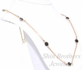 """14K Yellow Gold 17"""" Onyx Bar Necklace 32000067"""